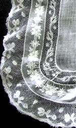 vintage antique wedding brides hanky French lace Ayrshire whitework