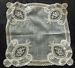 vintage antique wedding brides hanky Brussels lace with inserts