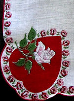 vintage valentine hanky hearts and roses print