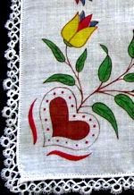 vintage Pennsylvania Dutch print valentine hanky handmade lace