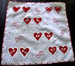 vintage valentine hanky 2-hearts print