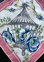 vintage floral print hanky bird cage and blue poppies