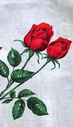 vintage floral print hanky vivid red roses
