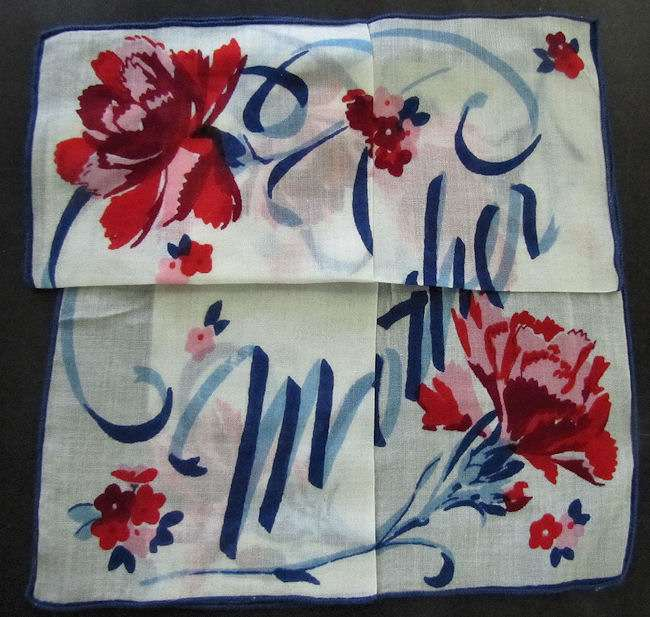 vintage floral print hanky secret message for Mother