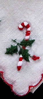vintage christmas hanky embroidered candy canes