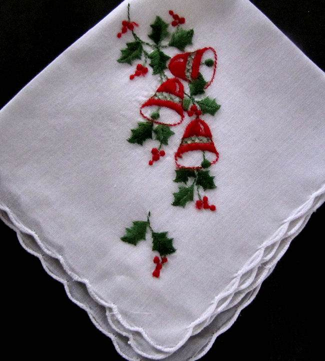 vintage antique christmas bells hanky