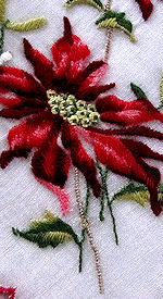 vintage christmas hanky embroidred poinsettas