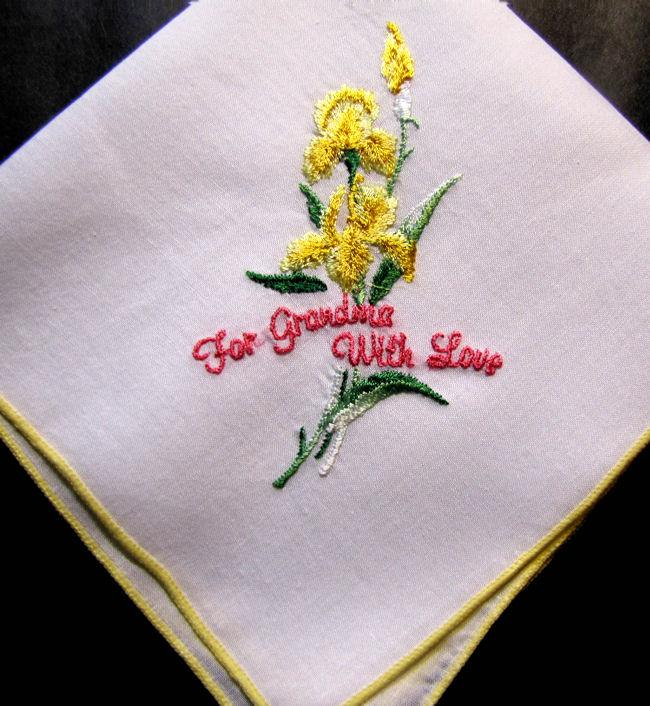 vintage antique embroidered hanky for Grandma