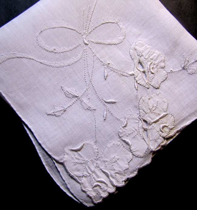 vintage antique whitework hanky