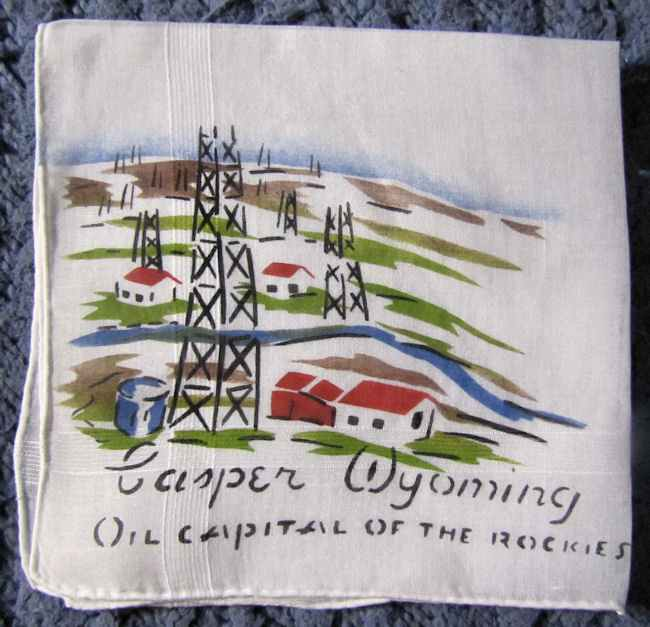 vintage antique oil rig hanky from Casper, Wyoming