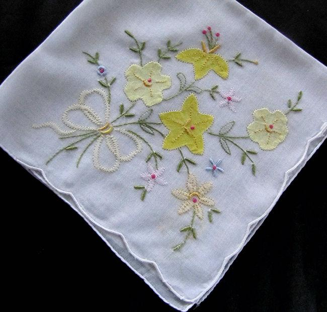 vintage antique embroidered yellow flowers hanky