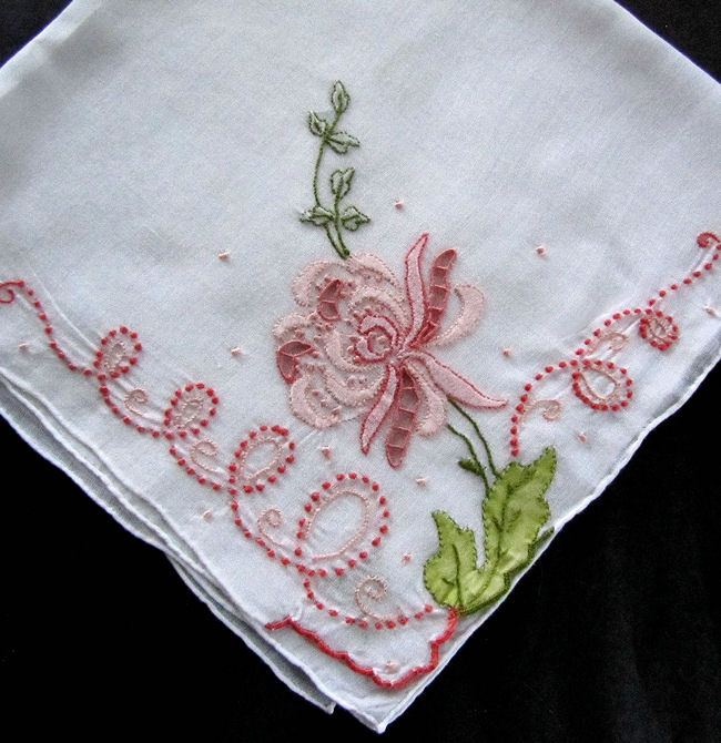 vintage antique handmade embroidered hanky with lace and applique