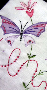 vintage hanky with embroidered butterfly