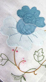 vintage handmade hanky embroidered blue flowers