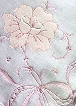 vintage embroidered pink flowers and ribbons hanky