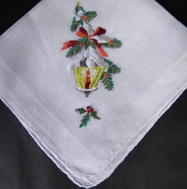 vintage antique christmas embroidered lantern hanky
