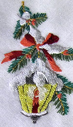 vintage christmas hanky embroidered lantern