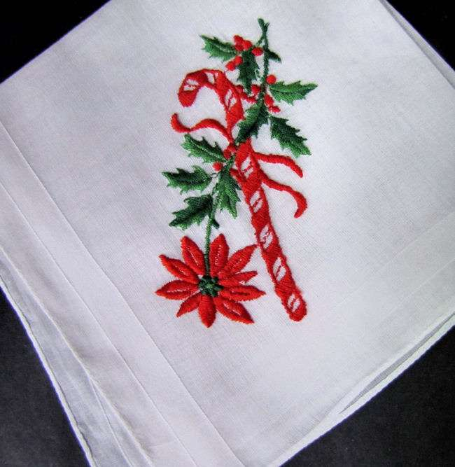vintage antique christmas candy cane hanky