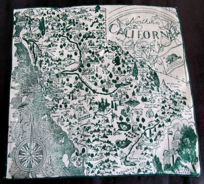 vintage Northern California state map hanky