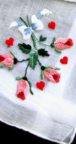 vintage hearts rosebuds valentine hanky