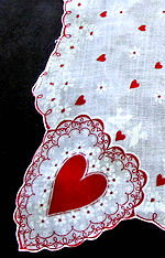 vintage valentine hanky heart-shaped corners