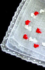 vintage valentine hanky embroidered hearts French lace