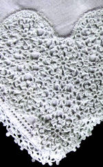 vintage irish linen hanky white handmade lace