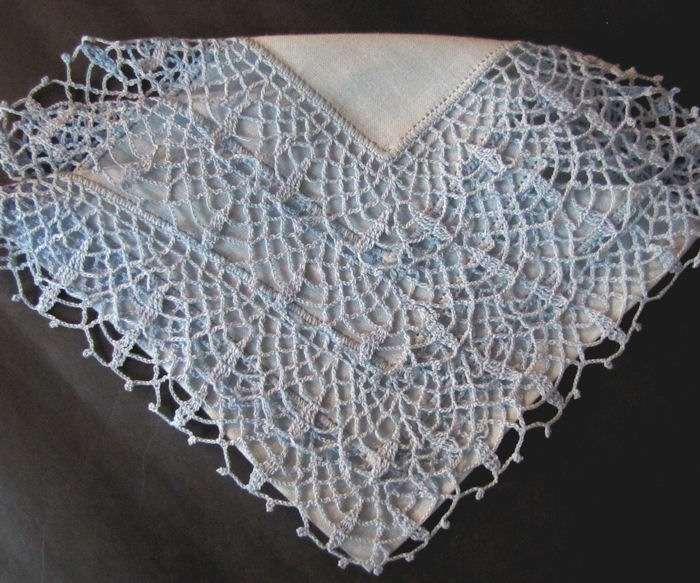 vintage antique blue irish linen hanky handmade lace