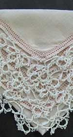 vintage pink irish linen hanky handmade tatted lace