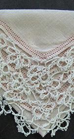 vintage pink irish linen hanky handmade tatted lace