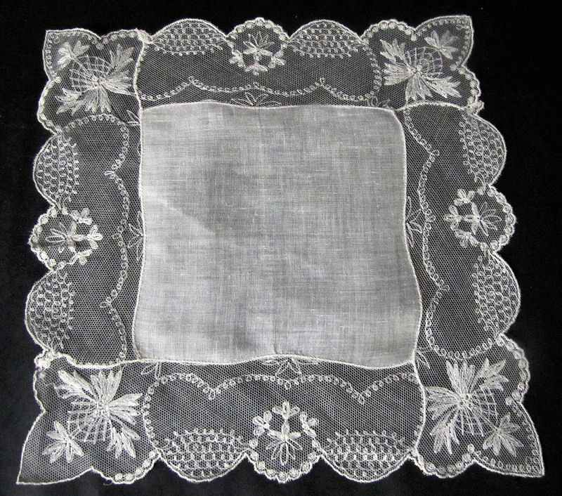 vintage antique wedding hanky with limerick lace