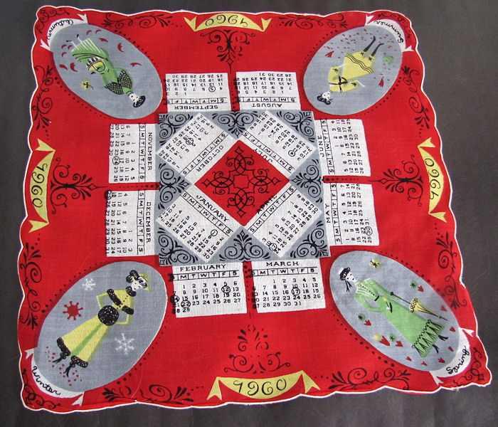 vintage antique designer hanky 1960 Calendar