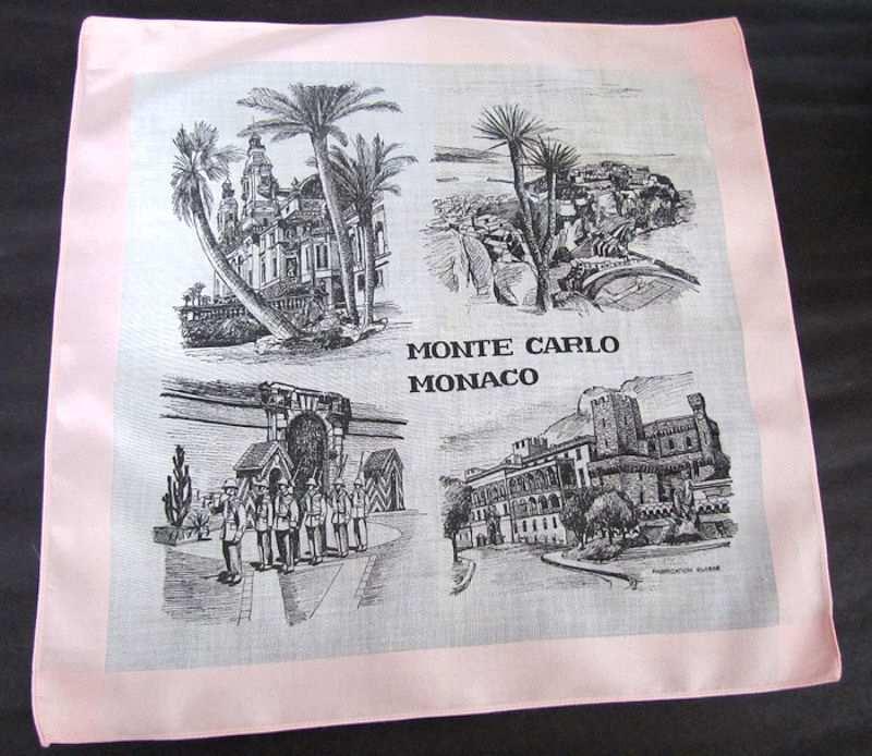 vintage antique designer hanky Monte Carlo