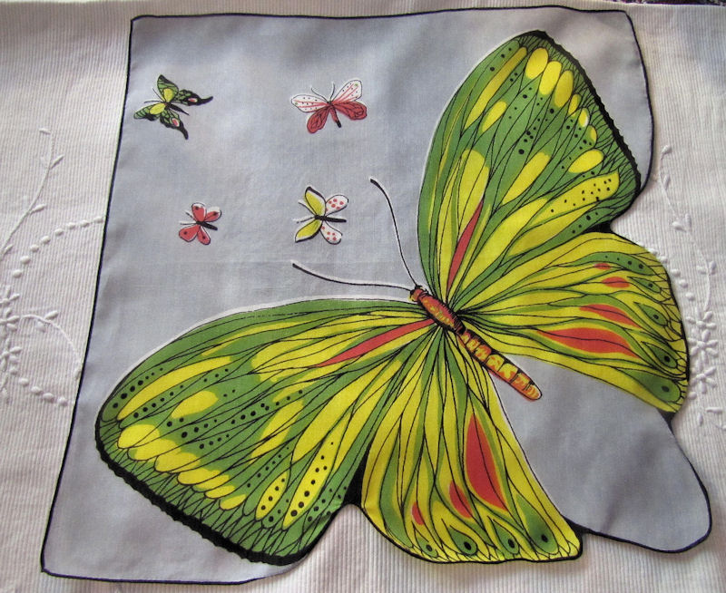 vintage antique designer hanky big butterfly