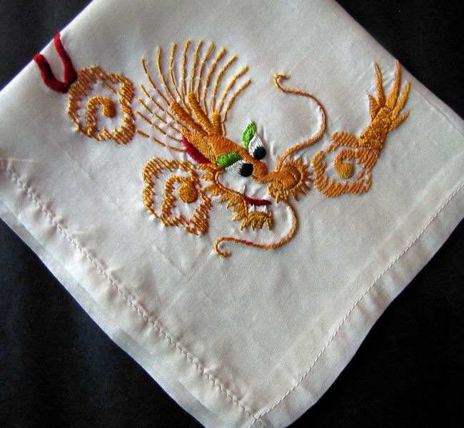 vintage antique embroidered koi fish hanky