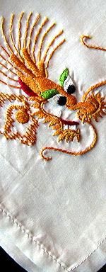 vintage embroidered koi hanky