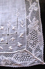 antique whitework hanky with handmade Binche lace