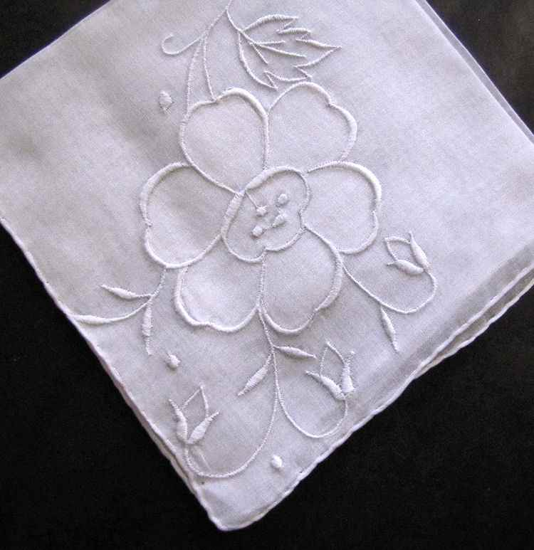 vintage antique whitework hanky handmade applique and embroidery
