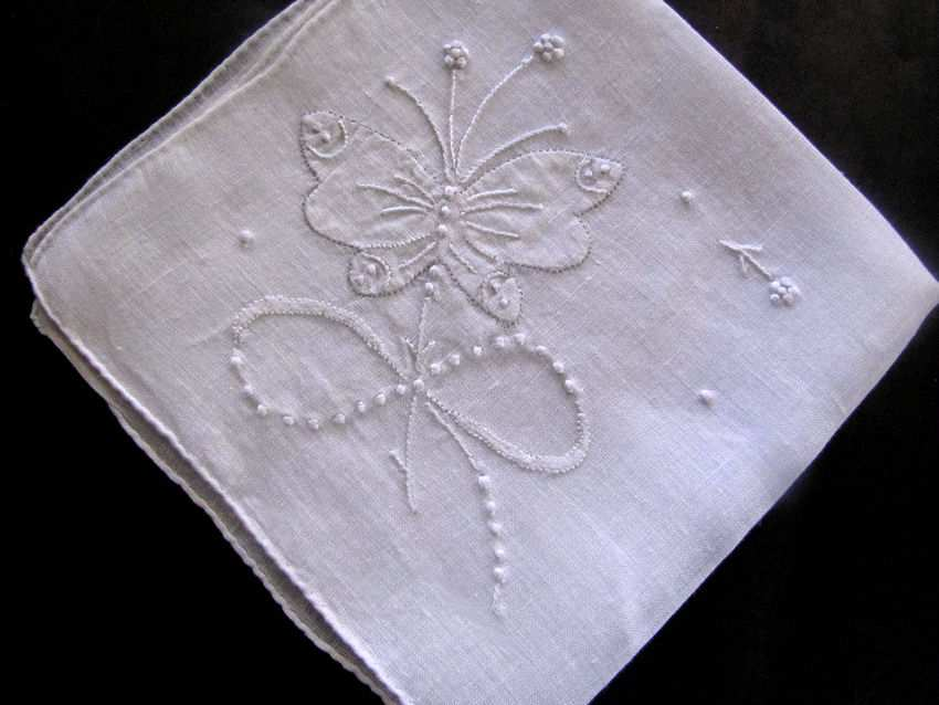 vintage antique whitework butterfly hanky