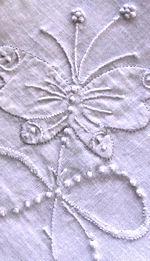 vintage handmade whitework hanky butterfly
