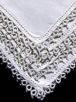 vintage handmade whitework hanky tatted lace