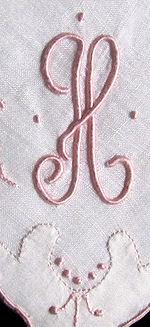 vintage monogrammed h hanky