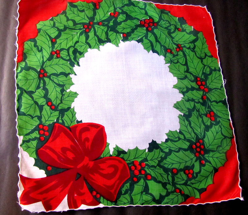 vintage antique christmas wreath hanky