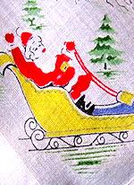 vintage Christmas hanky mini print santa claus
