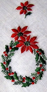 vintage christmas embroidered wreath hanky