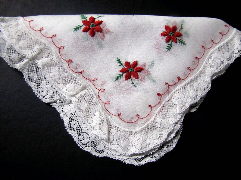 vintage antique christmas poinsettas and lace hanky