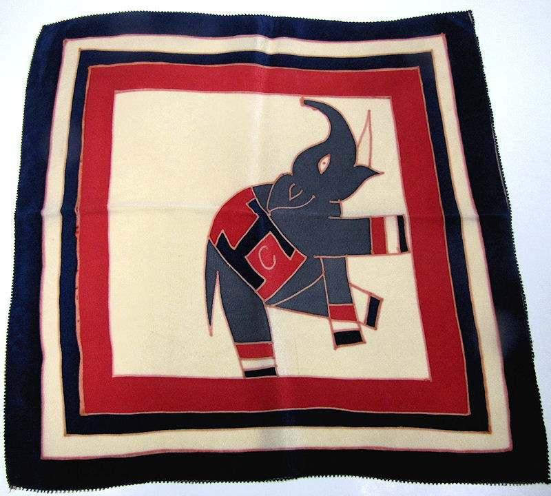 vintage antique designer H C elephant hanky