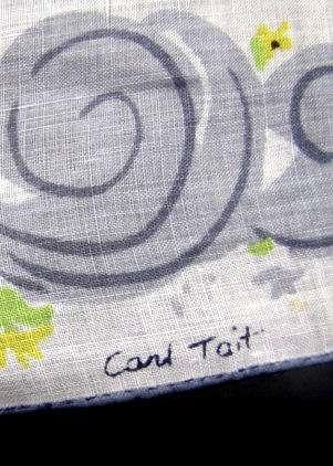 close up vintage antique designer Carl Tait  thank you hanky