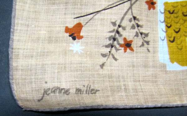 close up vintage antique designer Jeanne Miller hanky