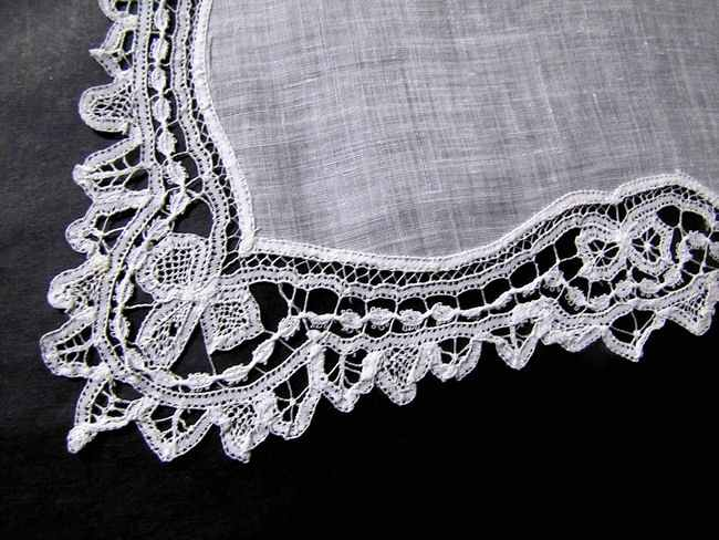 close up vintage antique wedding brides hanky with handmade  lace
